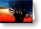 Orange Pastels Greeting Cards - Baobab Tree Greeting Card by Angela Pari  Dominic Chumroo