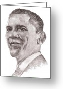 Barack Drawings Greeting Cards - Barack Obama Greeting Card by Nan Wright