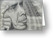 Barack Drawings Greeting Cards - Barack Obama Greeting Card by Stephen Sookoo