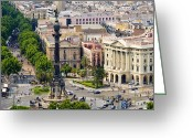 West Indies Greeting Cards - Barcelona With Tree-lined Las Ramblas Greeting Card by Annie Griffiths