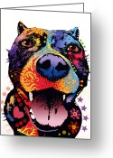 Pitbull Greeting Cards - Bark Dont Bite Greeting Card by Dean Russo