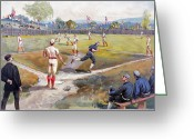 Umpire Greeting Cards - BASEBALL GAME, c1887 Greeting Card by Granger
