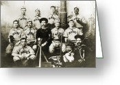 Bloomer Greeting Cards - BASEBALL TEAM, c1898 Greeting Card by Granger
