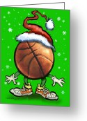 Basketball Greeting Cards - Basketball Christmas Greeting Card by Kevin Middleton