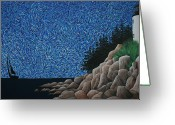 Maine Painting Greeting Cards - Bass Harbor Lighthouse Greeting Card by Nick Flavin