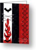 Bat Mixed Media Greeting Cards - Bat Outa Hell Greeting Card by Roseanne Jones
