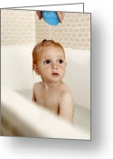 Bath Time Greeting Cards - Bathing Child Greeting Card by Ian Boddy