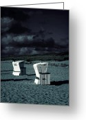Sinister Greeting Cards - Beach Chairs Greeting Card by Joana Kruse