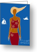 Fashion Drawings Greeting Cards - Beach Days Greeting Card by Frank Tschakert
