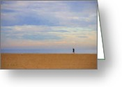 Runner Greeting Cards - Beach Jogger Greeting Card by Chuck Staley