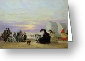 Sunset Scenes. Painting Greeting Cards - Beach Scene Greeting Card by Eugene Louis Boudin