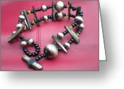 Metal Jewelry Greeting Cards - Beaded Bracelet Greeting Card by Beth Sebring