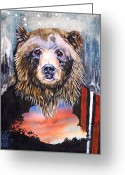 Introspective Mixed Media Greeting Cards - Bear Medicine Greeting Card by J W Baker