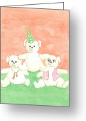 Pyramid Drawings Greeting Cards - Bear Pyramid Greeting Card by Nareeta Martin