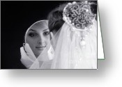 Hair-style Greeting Cards - Beautiful Woman in Bridal Veil Looking at a Mirror Greeting Card by Oleksiy Maksymenko