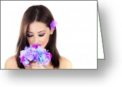 Holding Flower Greeting Cards - Beautiful young female portrait Greeting Card by Anna Omelchenko