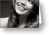 Beauty Care Greeting Cards - Beautiful Young Smiling Woman Greeting Card by Oleksiy Maksymenko