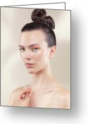 Hairdo Greeting Cards - Beautiful Young Woman Portrait Greeting Card by Oleksiy Maksymenko