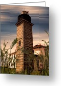 East Coast Digital Art Greeting Cards - Beavertail Lighthouse Greeting Card by Lourry Legarde