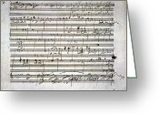 Artifact Greeting Cards - Beethoven Manuscript Greeting Card by Granger