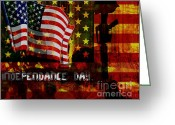 4th July Mixed Media Greeting Cards - Behind the Scenes Greeting Card by Fania Simon