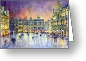 Grande Place Grote Markt Greeting Cards - Belgium Brussel Grand Place Grote Markt Greeting Card by Yuriy  Shevchuk
