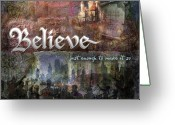 Christmas Digital Art Greeting Cards - Believe Greeting Card by Evie Cook