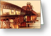Old Postcards Greeting Cards - Benicia-Martinez Bridges Across The Carquinez Strait in California . 7D10425 Greeting Card by Wingsdomain Art and Photography