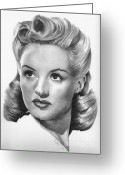 Grable Greeting Cards - Betty Grable Greeting Card by Karen  Townsend