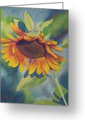 Bright Pastels Greeting Cards - Big Sunflower Greeting Card by Billie Colson
