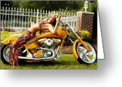 Clayton Photo Greeting Cards - Bikes and Babes Greeting Card by Clayton Bruster