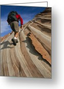 Hikers And Hiking Photo Greeting Cards - Bill Hatcher Hiking A Sandstone Cliff Greeting Card by Bill Hatcher