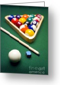 Cue Ball Greeting Cards - Billiards Greeting Card by Tony Cordoza