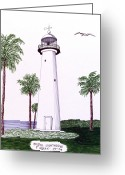 Ink Greeting Cards - Biloxi Lighthouse Greeting Card by Frederic Kohli