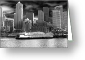 Seattle Skyline Greeting Cards - Black and White Seattle Greeting Card by Samantha Panzera