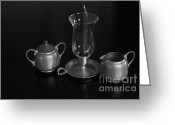 Serving Piece Greeting Cards - Black and white serving set Greeting Card by Ralph Hecht