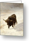 Horns Greeting Cards - Black Beast Wanderer Greeting Card by Joseph Denovan Adam