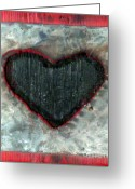 Heart Sculpture Greeting Cards - Black Heart Greeting Card by Jane Clatworthy