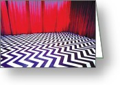 Wrapped In Plastic Greeting Cards - Black Lodge Greeting Card by Luis Ludzska