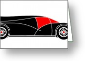 Asbjorn Lonvig Greeting Cards - Black Rocket Racing Car Virtual Car Greeting Card by Asbjorn Lonvig