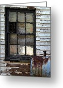 Old Greeting Cards - Black Window Greeting Card by Murray Bloom