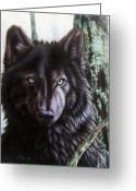 Studio Painting Greeting Cards - Black Wolf Greeting Card by Sandi Baker