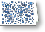 Murals Greeting Cards - Blue Abstract Rectangles Greeting Card by Frank Tschakert