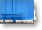 Empty Park Bench Greeting Cards - Blue bench Greeting Card by Richard Thomas