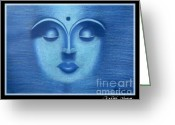 Buddha Pastels Greeting Cards - Blue Buddha  Greeting Card by Artist Mony