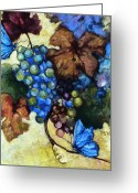 Vines Mixed Media Greeting Cards - Blue Butterflies  Greeting Card by Peggy Wilson