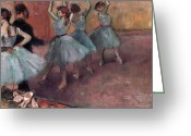 Rehearsal Greeting Cards - Blue Dancers Greeting Card by Edgar Degas