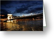 Kg Greeting Cards - Blue Danube Sunset Budapest Greeting Card by KG Thienemann
