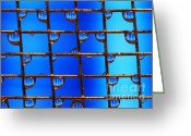 Liquid Greeting Cards - Blue Greeting Card by Darren Fisher