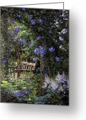 Arbor Greeting Cards - Blue Garden Respite Greeting Card by Doug Kreuger